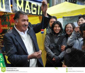 Magicien de rue à La Paz en Bolivie